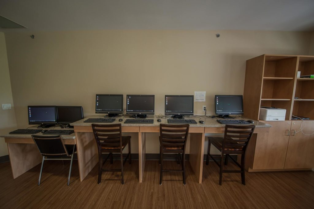 Computers for community, staff and residents to use in The Learning Lounge